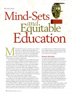 mindsets and equitable education report cover page