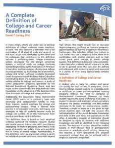 Definition of College and Career Readiness cover page
