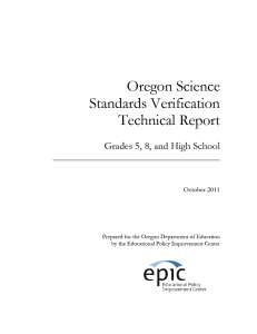 Oregon Science Standards Verification Technical Report Cover Page