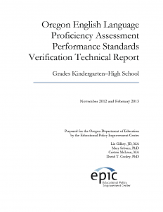 Oregon English Language Proficiency Assessment Performance Standards Verification Technical Report Cover Page