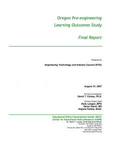 oregon pre engineering learning outcomes cover page