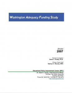 Washington Adequacy Funding Study Report Cover