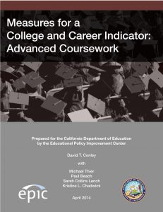 Measures for a College and Career Indicator: Advanced Coursework