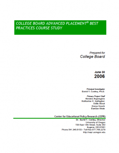 College Board AP Best Practices Course Study 2006 Report Cover