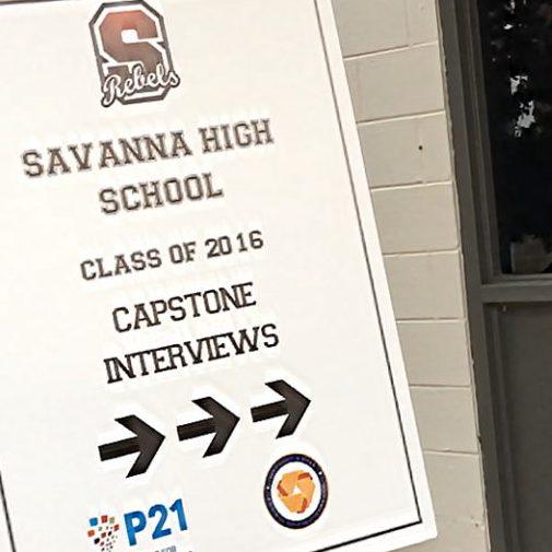Savanna High School Capstone Sign