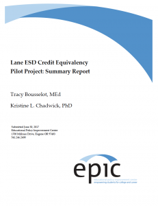 lane ESD credit equivalency project report cover