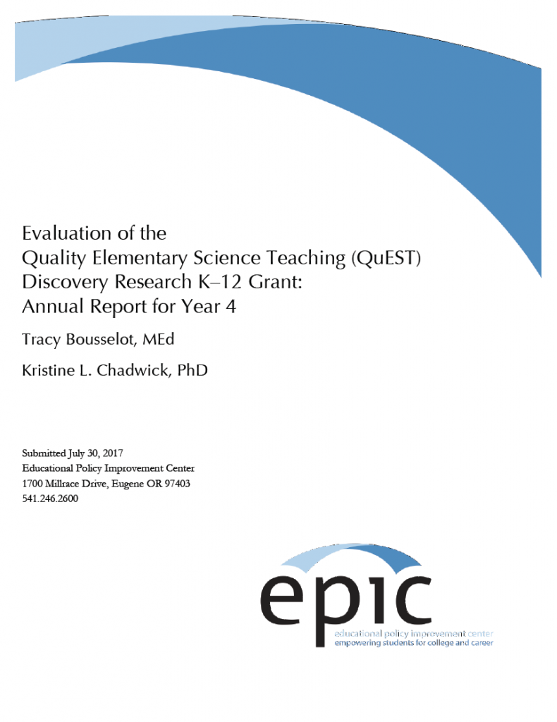 quality elementary science teaching year 4 annual report cover