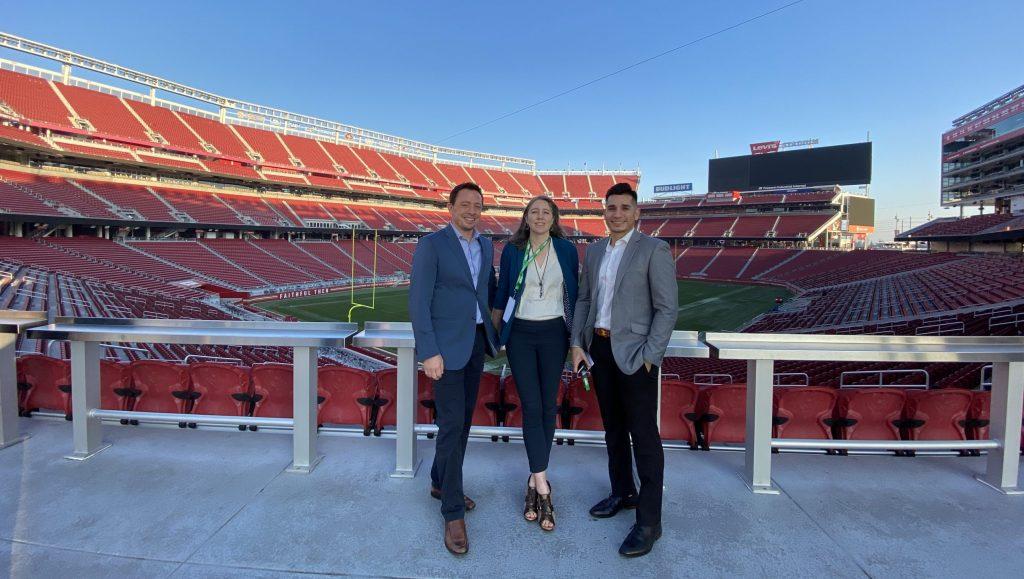Dr. Matt Coleman, Michelle Liebhardt, and Dr. Michael Corral at Levis Stadium