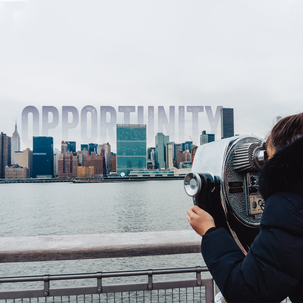 A person in a black fluffy coat with brown hair in a ponytail is looking through coin-operated binoculars across a body of water at a city skyline. Over the city the word